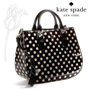 Kate Spade Black & White Polka Dotted Carlisle Street Sylvie Shoulder Bag
